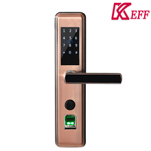 Low voltage alert 4.8V high quality digital touch screen fingerprint door lock for outdoor with double latch