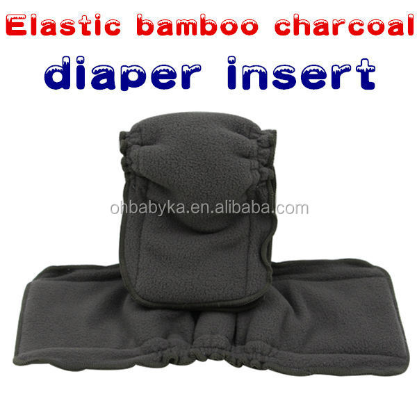 Ohbabyka Naturally Baby Cloth Diaper Inserts 5 Layer Charcoal Bamboo Pad for with Gussets for Cloth Diaper