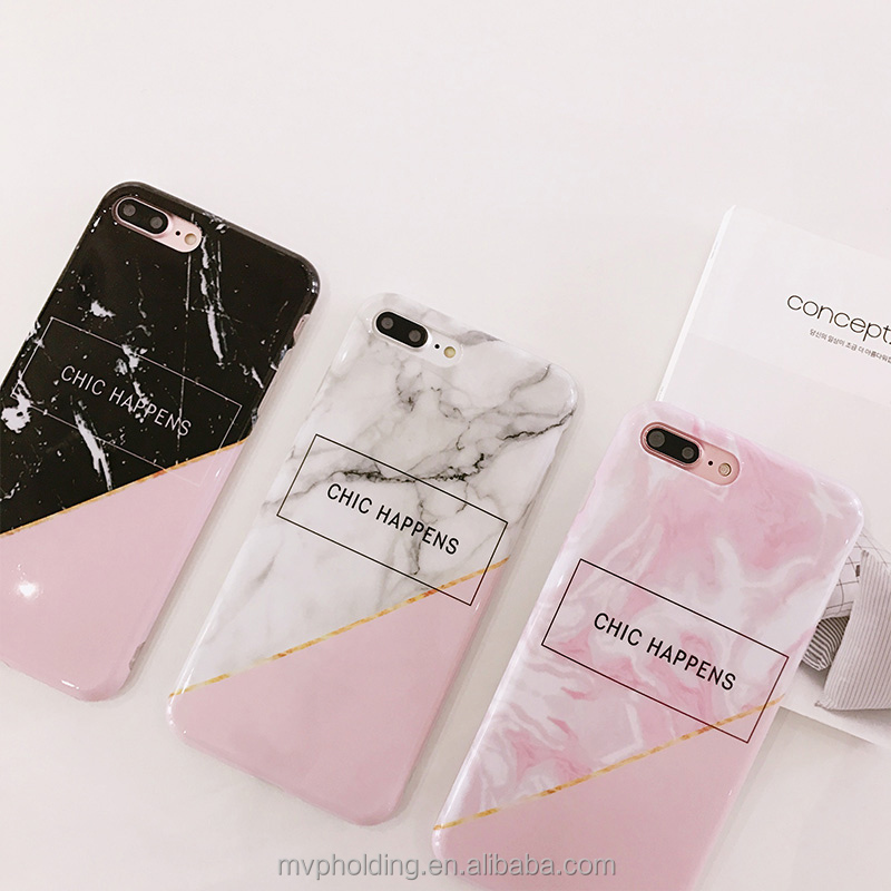 Korean Chic Style Simple Letter Marble Case For iphone 6 6S 7 7 Plus Soft TPU IMD Quality Phone Back Cover