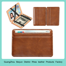 Slim Leather Funny Magic Card Slots Mens & Womens Business Card Bifold Magic Wallet Case
