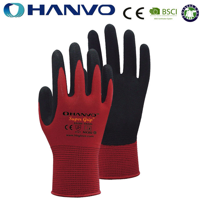 HANVO Sanding Anti-cut Gloves Nylon Dipped Nitrile
