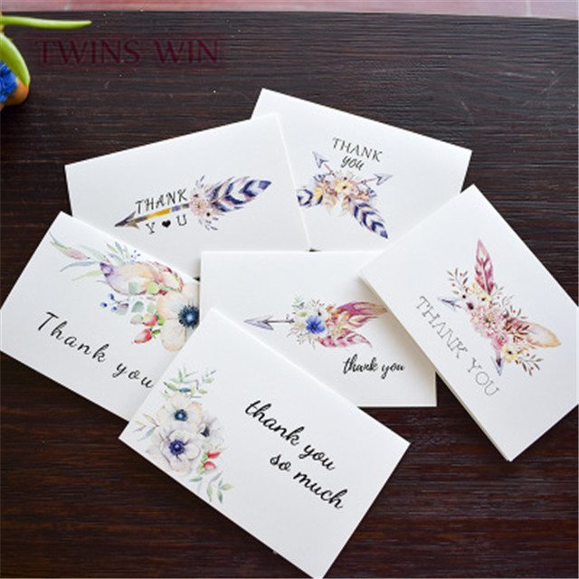 2019 hot selling thank you feather design popular small size greeting cards <strong>050</strong>
