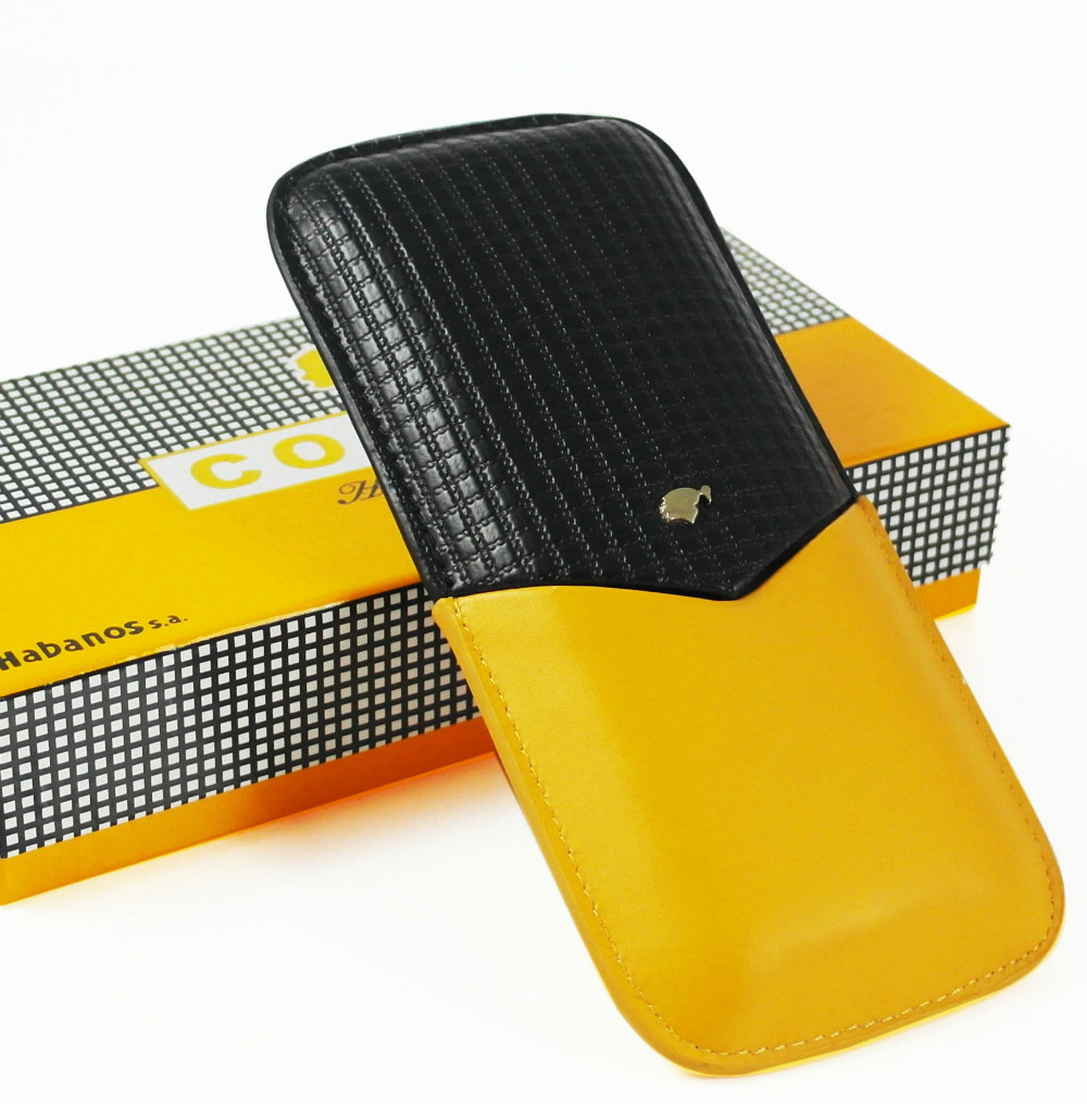 COHIBA High Quality Leather Black&Yellow CIGAR CASE