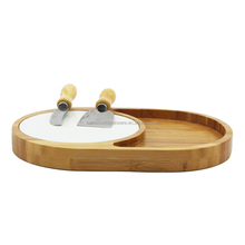 Wooden/Bamboo Cheese Cutting Board with 4 knives