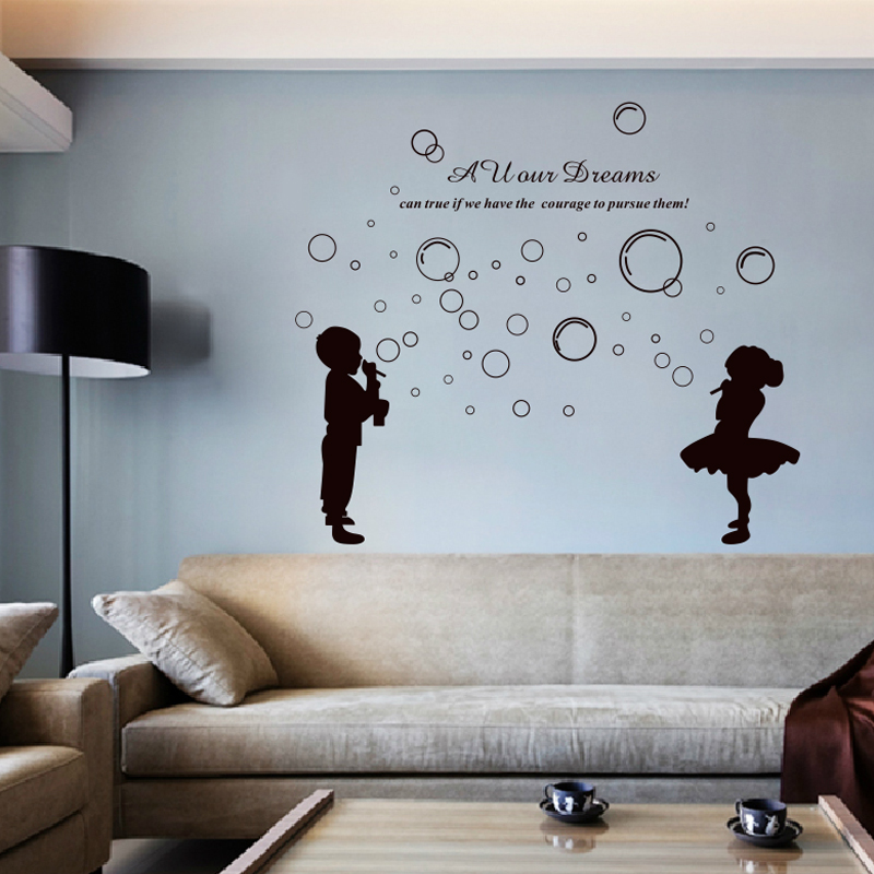 Bubble boy and girl bathroom tile stickers kids wall decals for home decoration