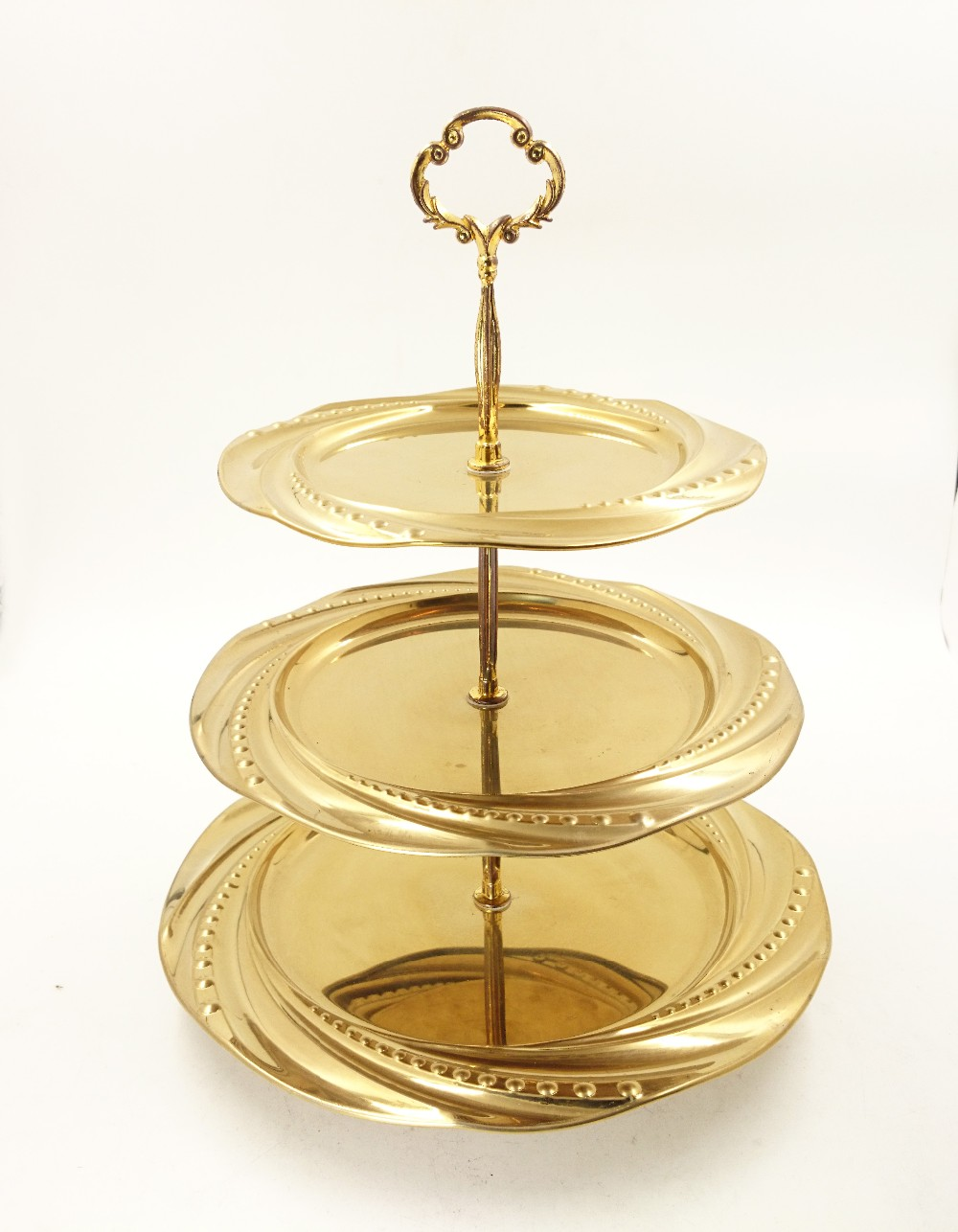 stainless steel 3 tier fruit tray/wedding decoration tray/snacks serving tray
