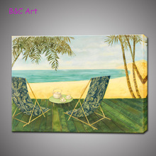 Attractive print beach scenery picture painting canvas art for wholesale