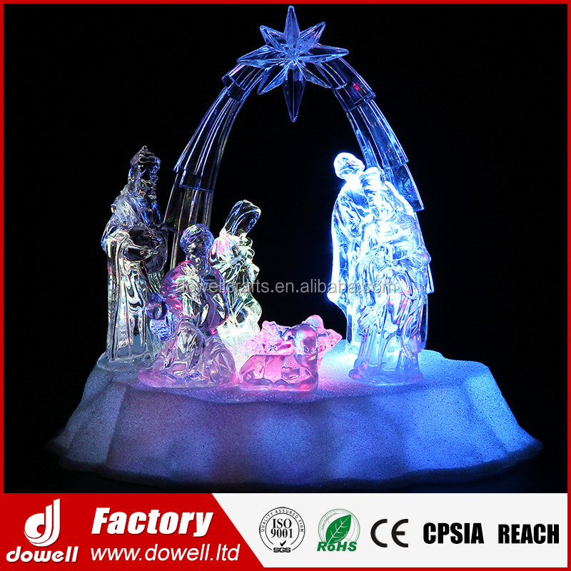 China Whosale Holy Family LED Lighted Crystal Acylic Christmas Nativity Set