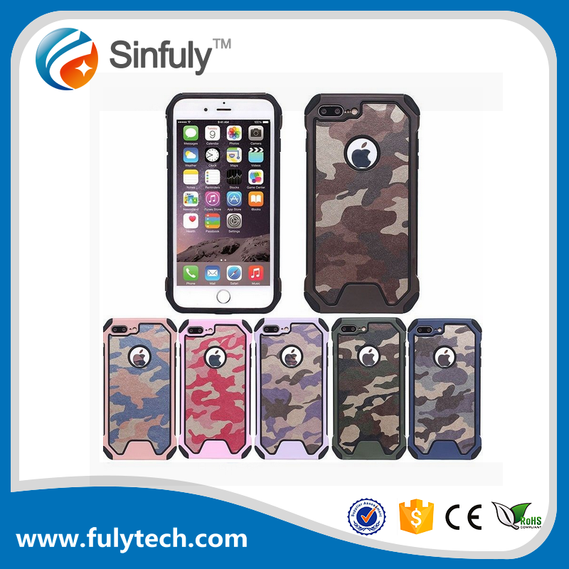 Rugged Armor Colored Cover 3 in1 Camouflage Case for iphone 6 6s 7 Plus TPU PC Case