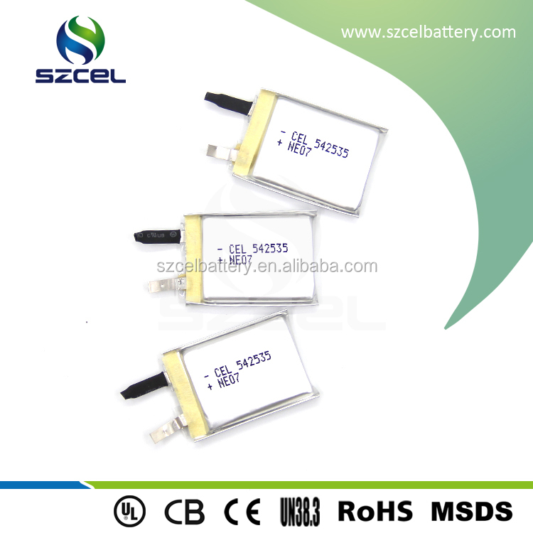 Wide temperature battery 3.7V 542535 400mAh rechargeable licoo2 battery Mp3 MP4 DVD PAD mobile tablet PC