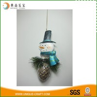 Metal Snow Man And Ceramic Pinecone Christmas Hanging Ornament
