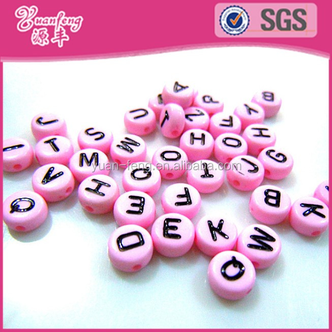 Assorted color loose flat round acrylic alphabet beads with black letter
