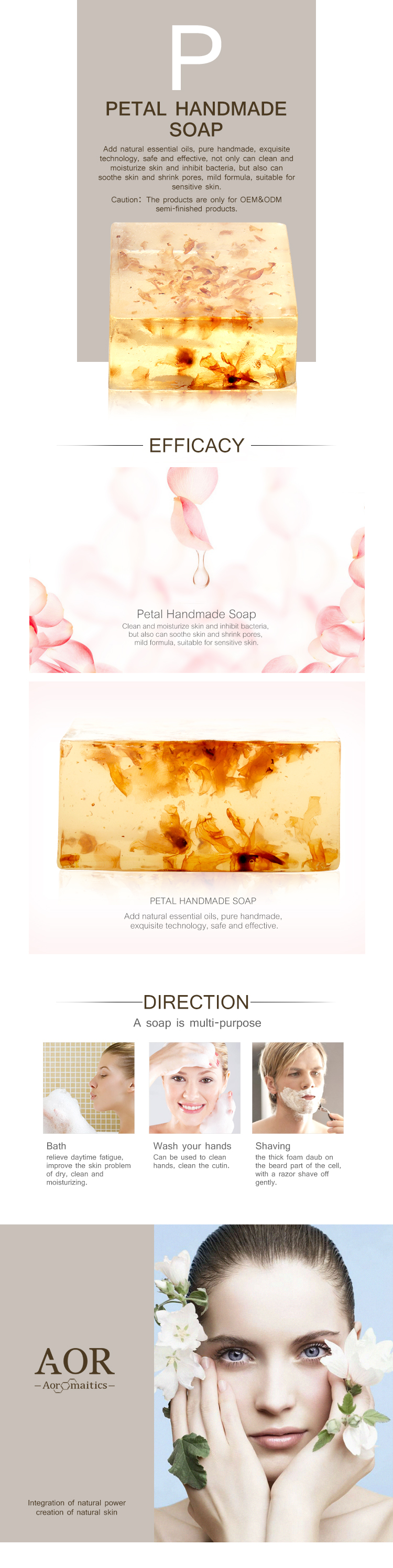 Petal Handmade Soap for Nourishing Antibacterial Soothing Refining pores with OEM/ODM