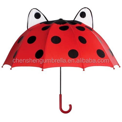 Frog cartoon pattern cheap manual open close straight umbrella with ears for kids children
