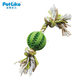 Cotton Rubber Plush Soft Dog Chew Ball Toy with Rope