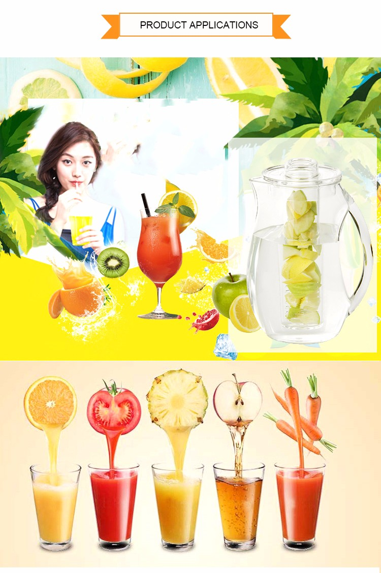 Clear Acrylic Fruit Infuser Pitcher, Fruit Infuser Water Bottle