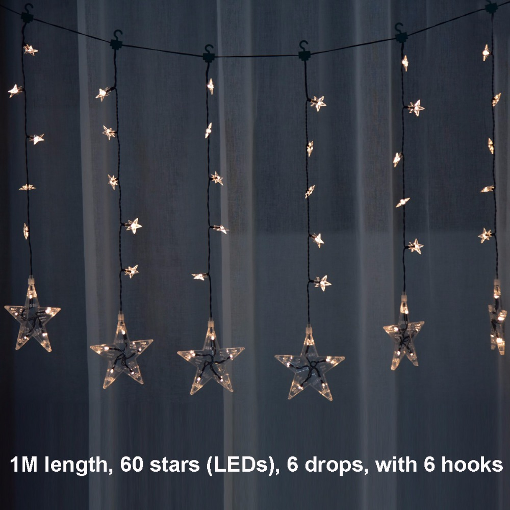 1M length, 6 drops, 60 stars (LEDs) 8 Flashing Modes indoor fairy lights decoration led curtain lights