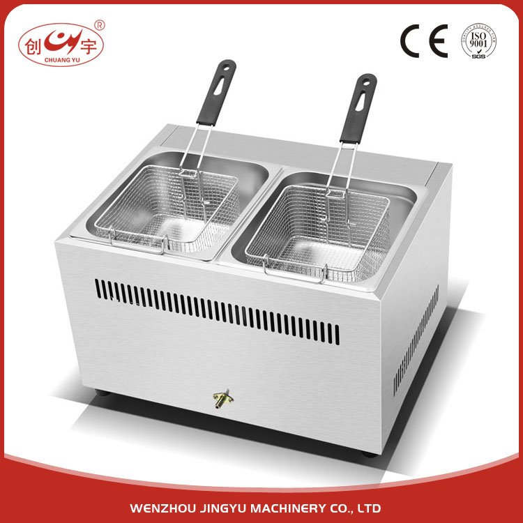 Chuangyu High Quality Products Auto Fried Chicken 2 Tank 2 Basket Deep Gas Fryer For Sale