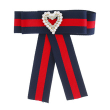 Fashion Heart Buckle Bowknot Statement Tie Brooches Trendy Jewelry Cloth Bow Brooches