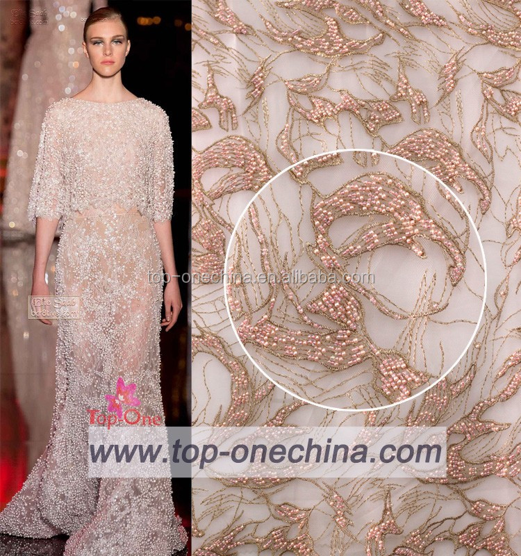 white Feather embroidery fabric wedding dress fabric sequins feather lace