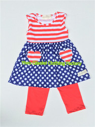 navy polka dots red stripe smocked july 4th patriotic dress kids summer wear for national day