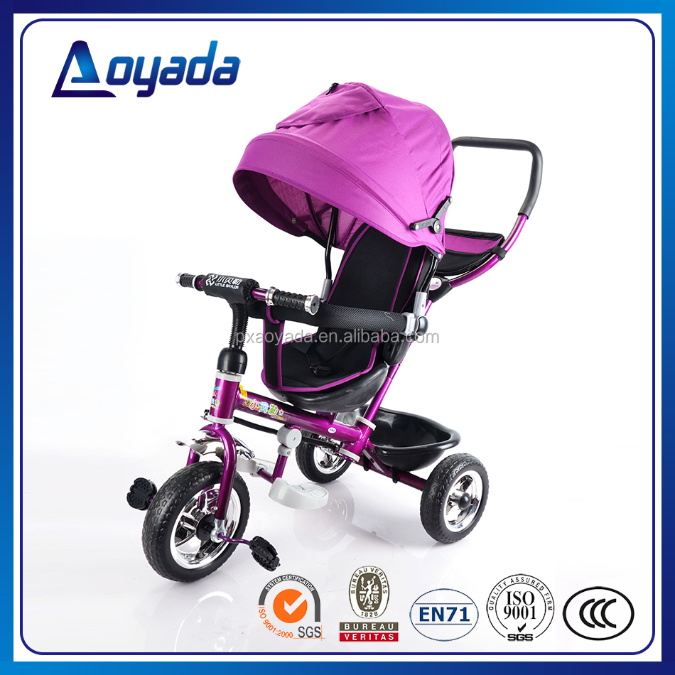 Best designed and fashionable 4 in 1 kids tricycle with canopy and pushbar wholesale