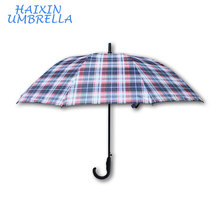 Business Check Design PG Fabric China Factory Walking Stick Curved Handle Automatic Subway Oversize Large Men's Rain Umbrella
