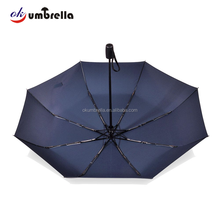 Windproof 3 fold automatic low moq umbrella custom