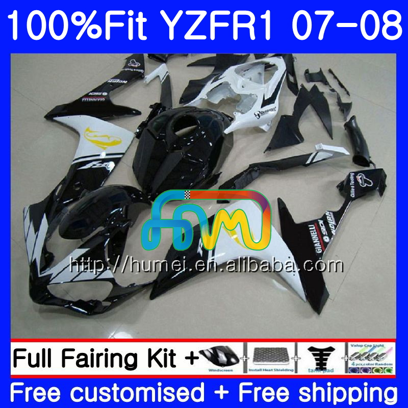 Injection Body For YAMAHA YZF black white <strong>R1</strong> 07 08 YZF-<strong>R1</strong> <strong>2007</strong> 2008 90HM49 YZF1000 YZFR1 YZF-1000 YZF 1000 R 1 07 08 Fairings