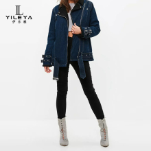 YILEYA Factory new design manufacturing women long jean jacket