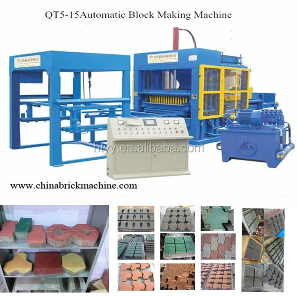Full automatic fly ash brick making machine QT5-15 hollow block machine prices in india