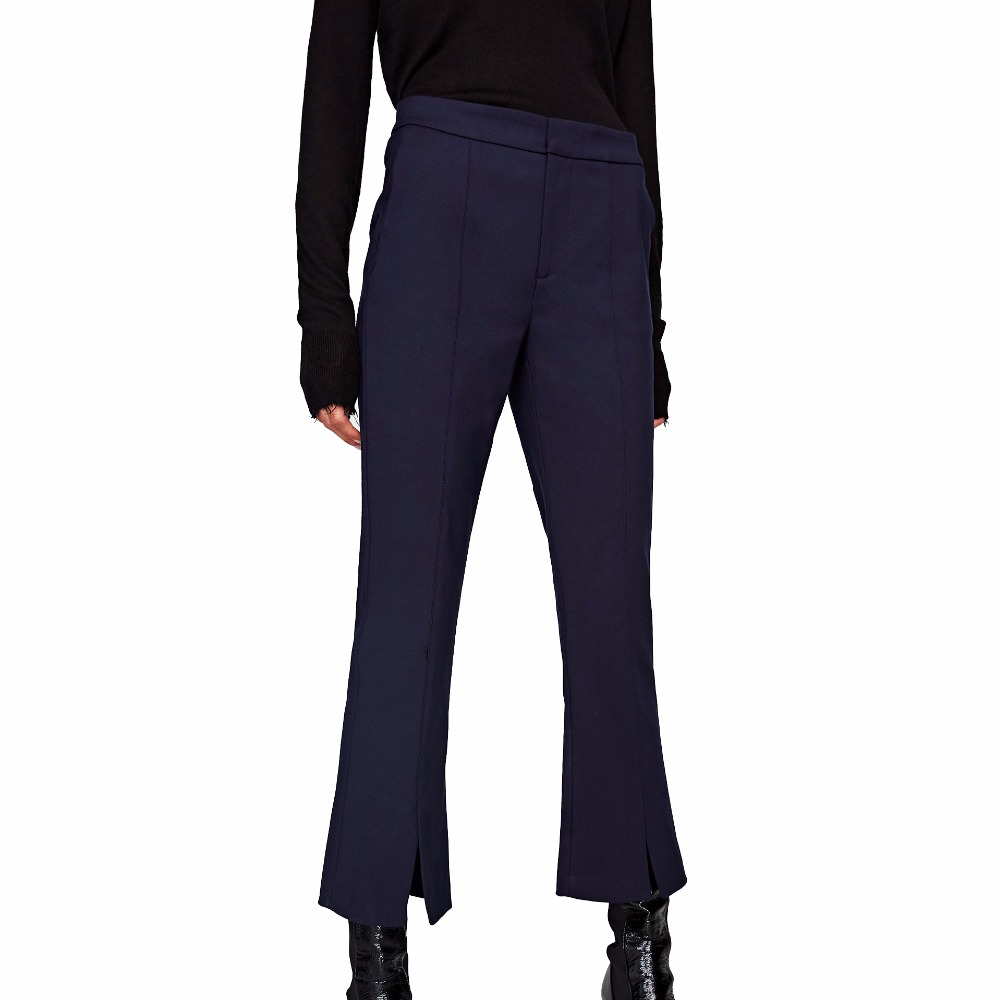 Women Pants Bell Bottom Cropped Trousers with Central Seam Slits at Hem