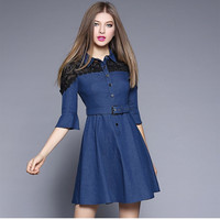 latest fashion trendy women clothing private label women clothing lace decoration dress jeans with belt