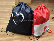 customized high quality low price eco-friendly promotion polyester drawstring shopping bag