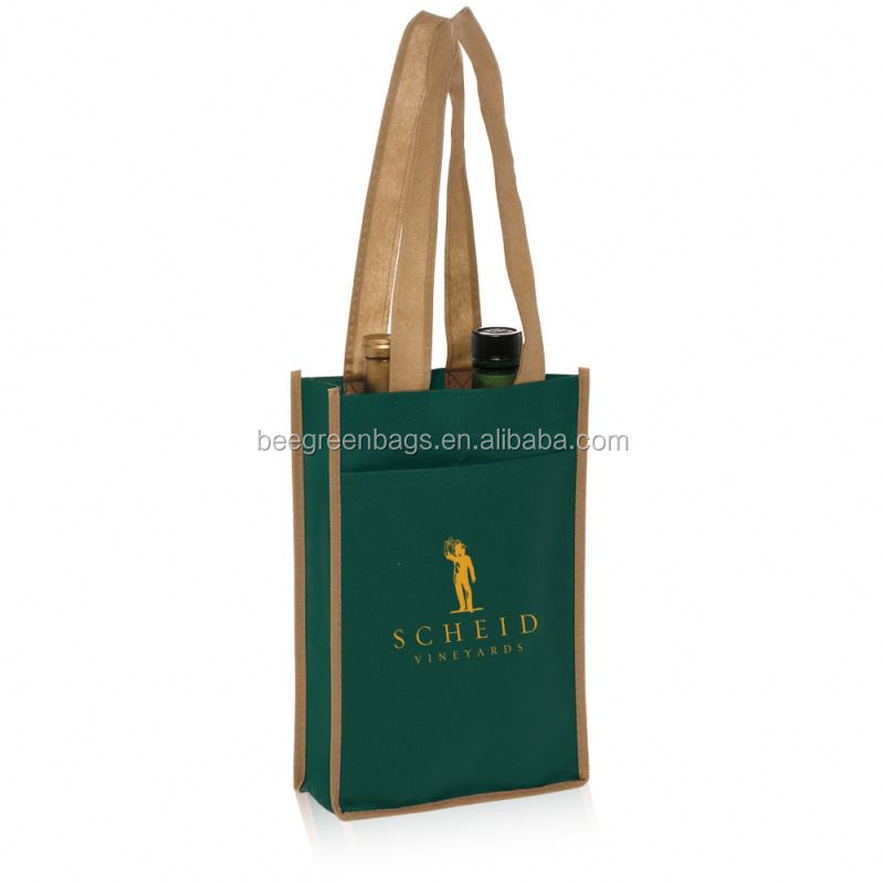 BeeGreen Cheap 80gsm Nonwoven 2 Bottles wine tote bag