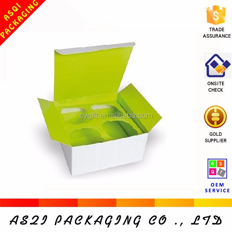 Alibaba manufacturer swiss roll packaging custom cupcake boxes with divider