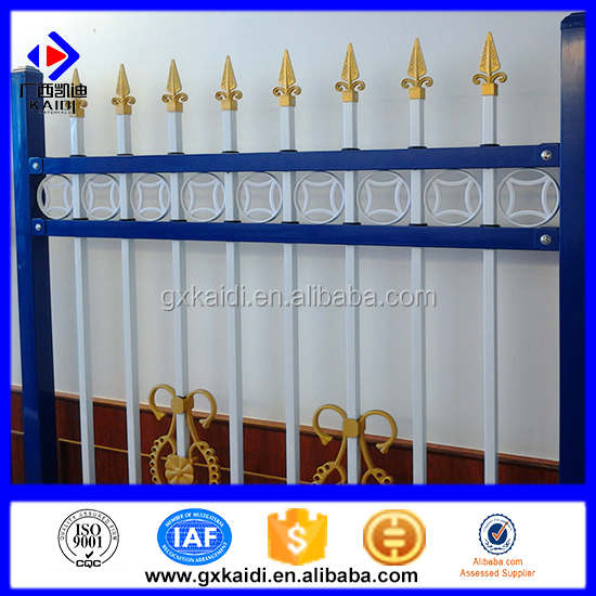Decorative prefab picket fencing / wrought iron fence panels / prefab picket fencing for sale