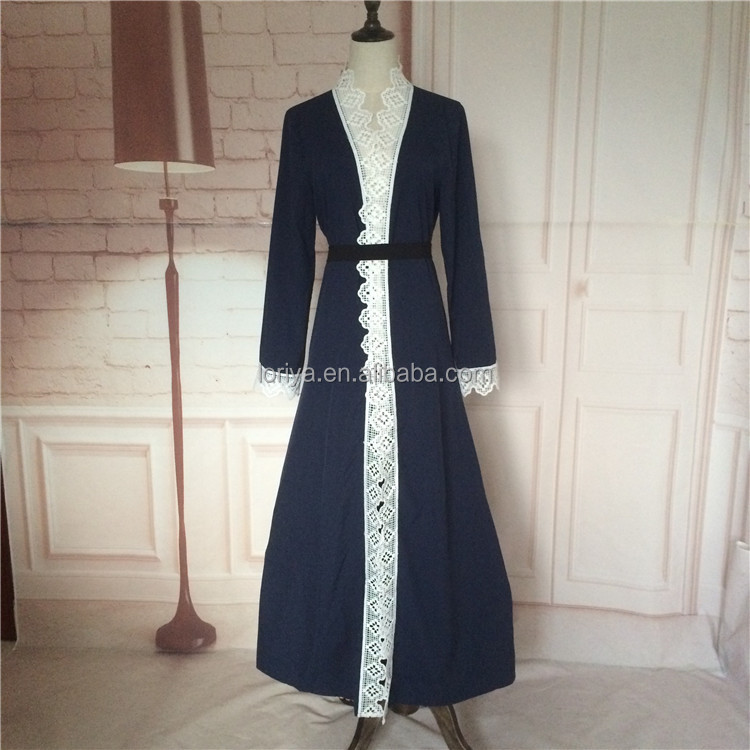 wholesale Newest trendy abaya with featuring beautiful laced sleeves design muslim dress