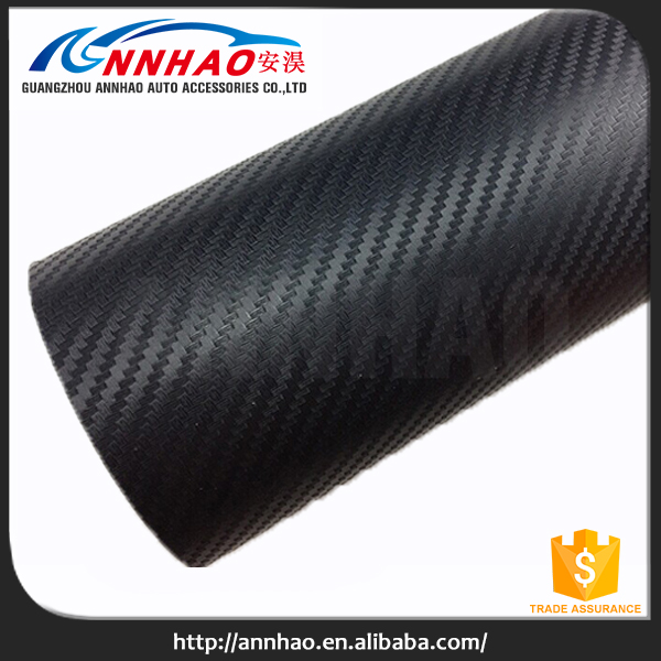 Easy Removable Air Bubble Free Black 3D Carbon Fiber Vinyl