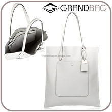 slim fashion plain leather tote handbags white leather hand bags for women PU cheap leather tote handbag