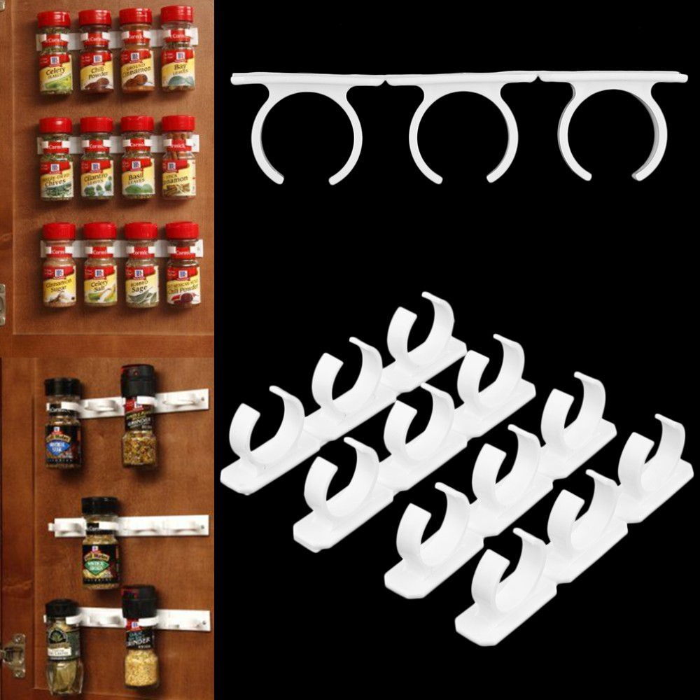 4 Sets Kitchen Clip Spice Gripper Jar Rack Storage Holder Wall Cabinet <strong>Door</strong> Popular