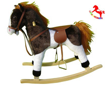 74*30*58cm ASTMF963 lovely brown customized d plush children rocking horses on wheels