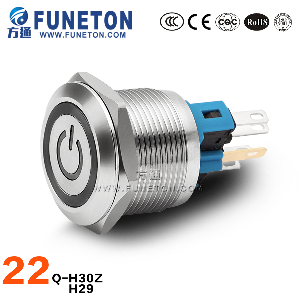22mm install hole waterproof normally open push button switch