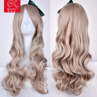 NEW BLONDE BROWN MIX CURLY LONG LADY'S HAIR WIGS+WIG CAP