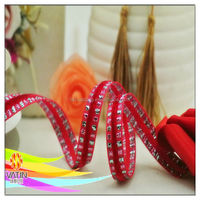 Rose red color elegant style rose red velvet ribbon with colorful side for decor