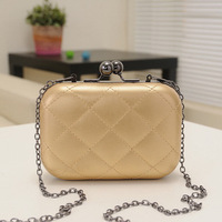 Korean the 2014 new candy-colored Quilted handbag clutch evening bag chain shoulder bag Messenger Bag Mini