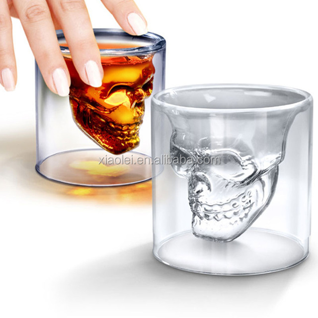 Personalized Handmade Borosilicate Heat-Resisting Double Wall Skull Whisky Glass