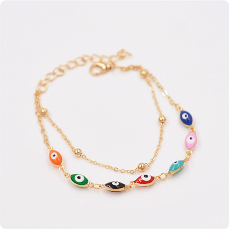 Multicolor Enamel Oval Shape Evil Eye Bead Link Chain Bracelet For Women
