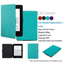 High Quality Book Style Stand Smart PU Leather Case For Kindle Paperwhite 2015, Sky Blue