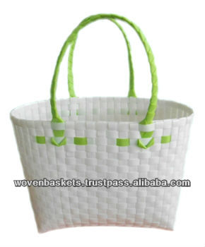 Cheap Woven Baskets Shopping weaving Bag (ATS-F03)with White or Colorful made from Plastic Straps Polypropylene pp